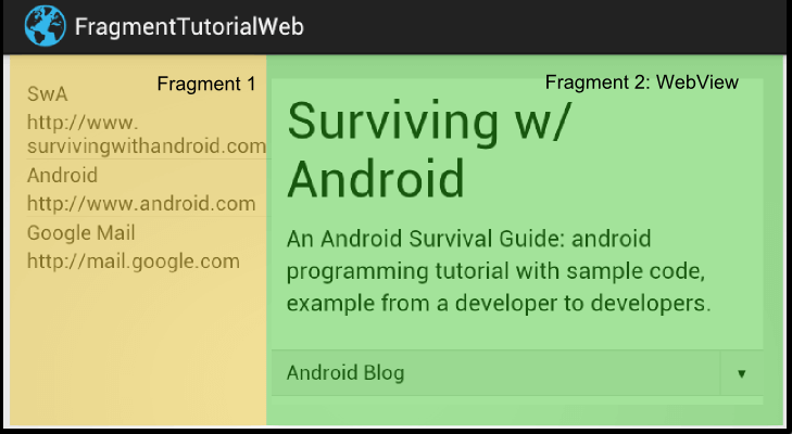 Fragment in Android: Tutorial with Example using WebView