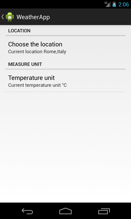 android weather app settings