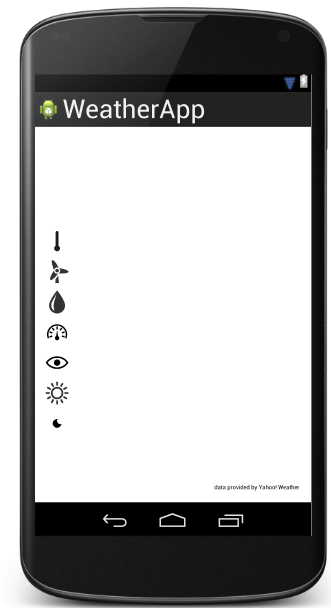 android weather app layout structure