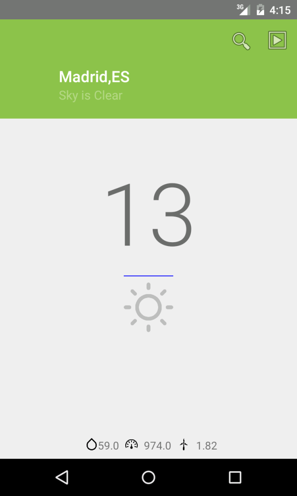 how to implement android weather app using materil design