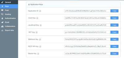 Parse.com connection api parameters