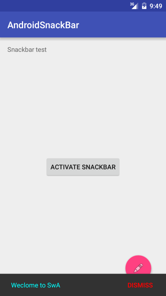 android snackbar with fab