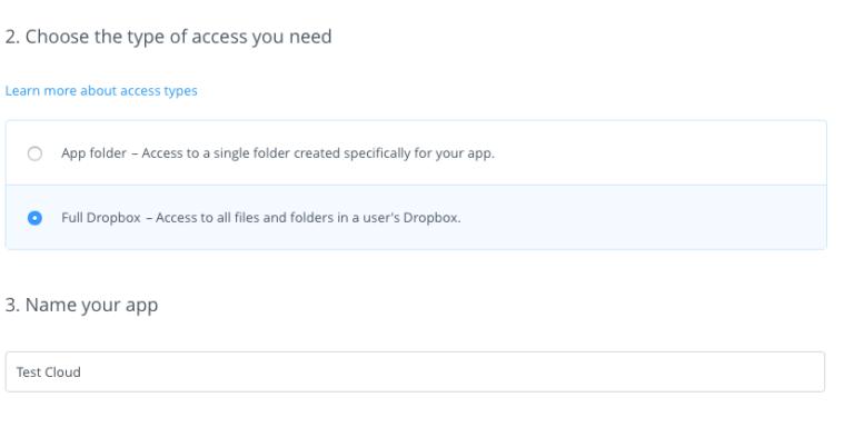 Dropbox api app