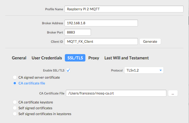 how to test MQTT using Mosquitto and MQTT.fx