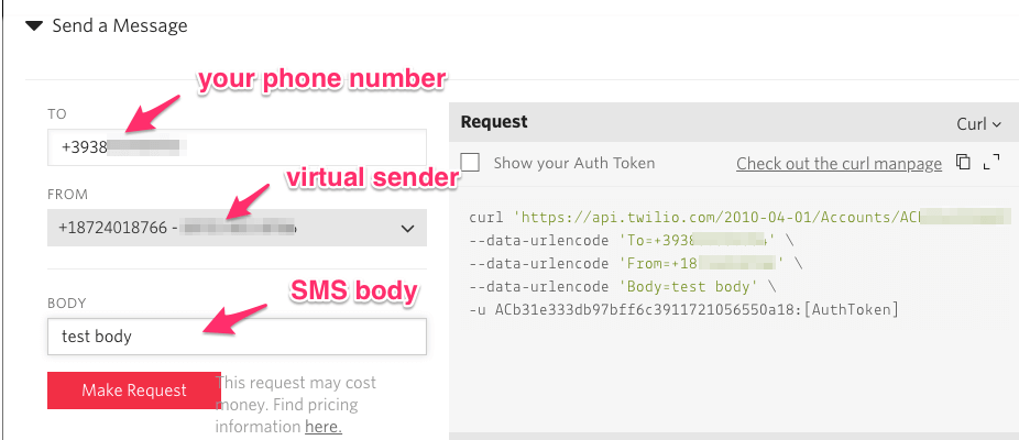 twilio api console to send SMS notification