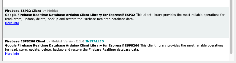 ESP8266 (or ESP32) Firebase library to connect to Google Firebase real-time library