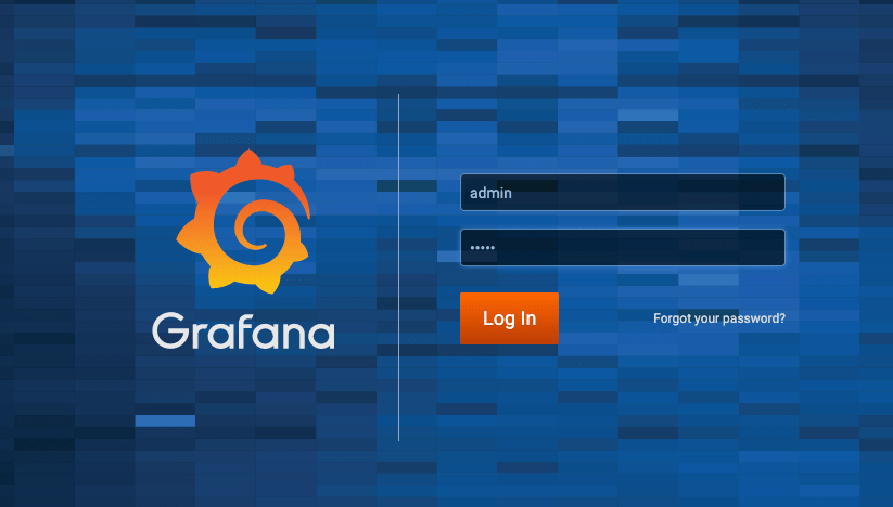 The grafana login page