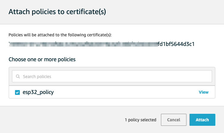 Attach Policy to Certificate in Amazon AWS IoT