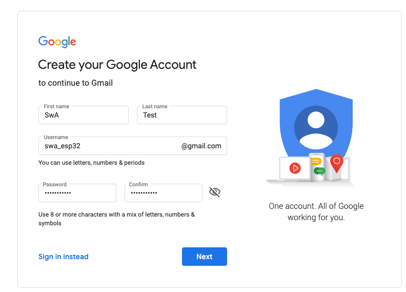 create GMail account to use with ESP32