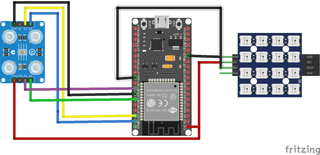 ESP32 KNN schematic to classify colors using TCS3200