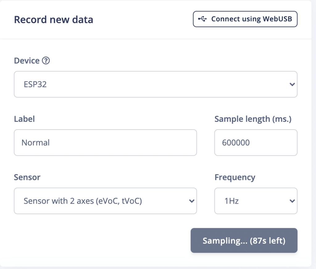 Acquire data samples to detect anomaly using ESP32